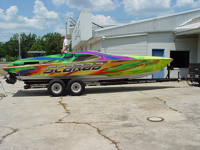 Boat Wrap on a 28ft Scarab on West Palm Beach, Florida