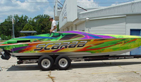 Boat wrap on a 28ft Scarab on West Palm Beach, FL