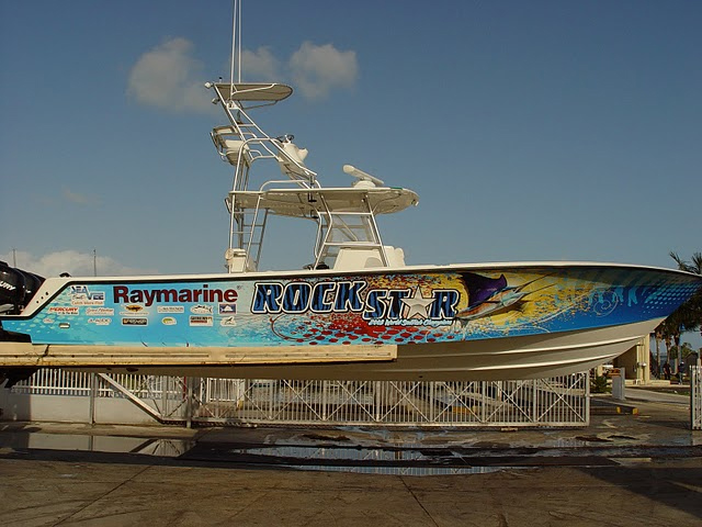 Boat wraps on Rockstar in Miami, Florida