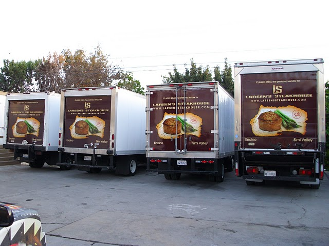 Box Truck wraps for Larsen's Steakhouse in Los Angeles, CA