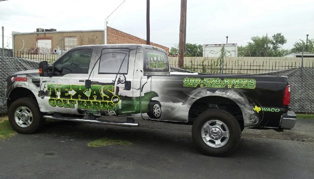 Custom truck wraps installed on a Texas Golf Karts in Woodway, Texas