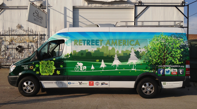 Vinyl graphics wraps installed on Sprinter for ReTREEt America in Dallas, TX