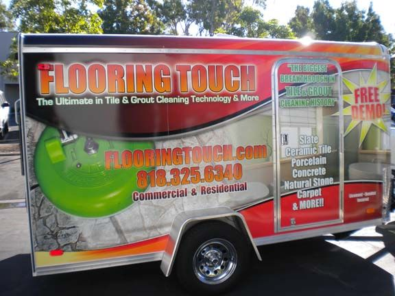 Custom box truck wraps for Flooring Touch 12' trailer in Los Angeles