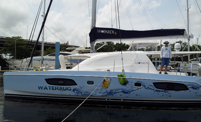 Boat wrap 47ft Catamaran in Ft-Lauderdale, Florida