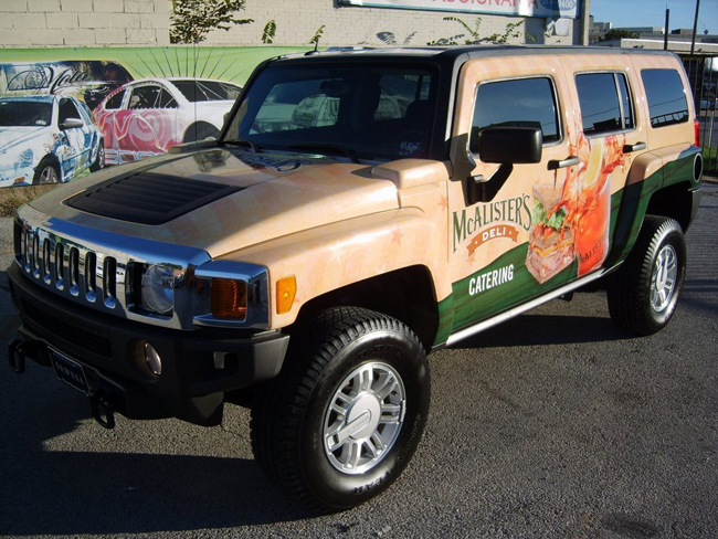 Car Wraps installed on a Hummer H3 for McAlister's Deli