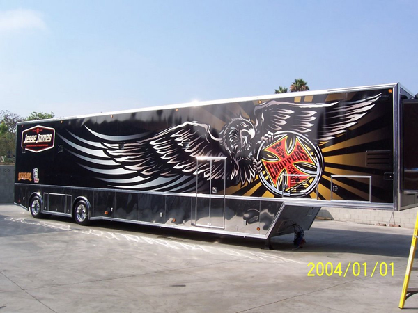 Custom trailer wraps installed on a hauler for West Coast Choppers in California