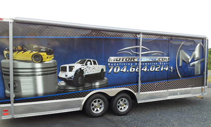 Full trailer graphics wrap for MotorTrenz in Charlotte, NC