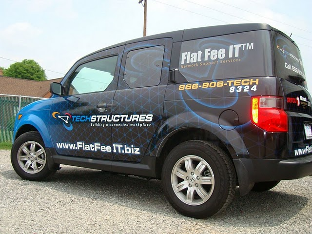 Vehicle wraps installed on a Honda Element for Tech Structures in North Carolina