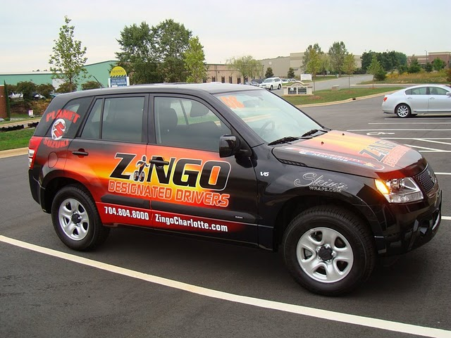 Vehicle wraps on a Suzuki SUV for Zingo in Charlotte