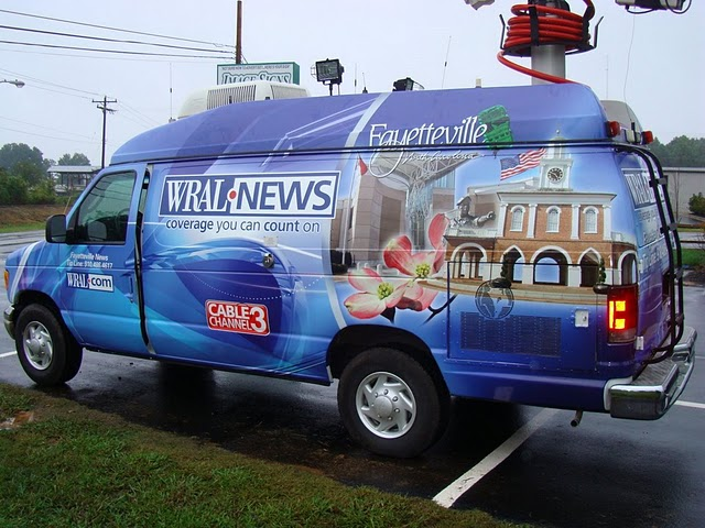 Vinyl wraps installed on a broadcast van for WRAL TV in North Carolina