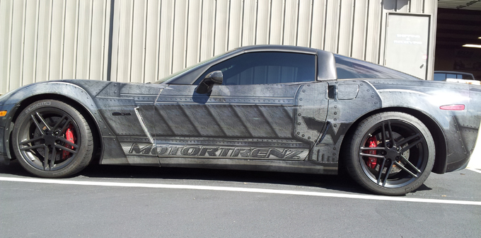Car wraps on Corvette Z06 for MotorTrenz in Charlotte, NC