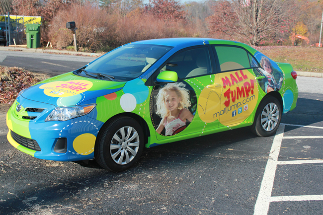 Graphic car wrap for MallJump, North Carolina