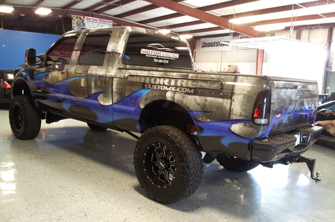 Truck graphics wrap Ford F250 for MotorTrenz in Charlotte, NC