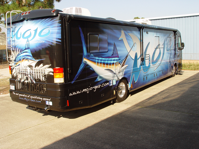 Custom Vinyl wrap on RV Bus Motor Coach in FL