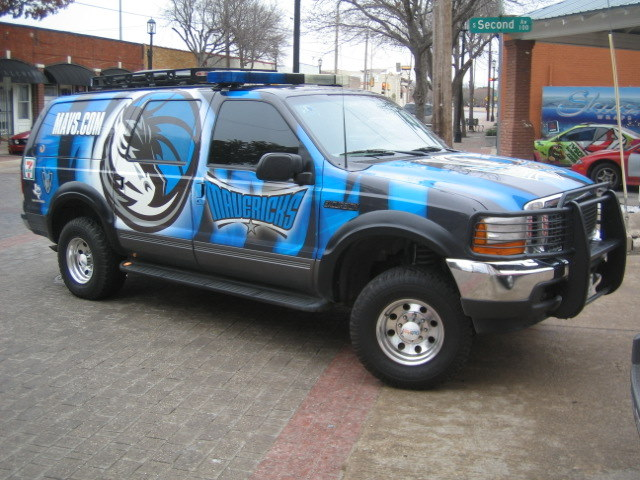 Custom SUV vinyl wraps for Dallas Mavericks