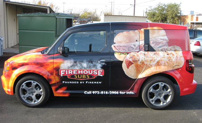 SUV vinyl wraps for Firehouse Subs in Dallas TX