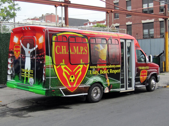 Shuttle Bus Wrap for CHAMPS United in New York, NY