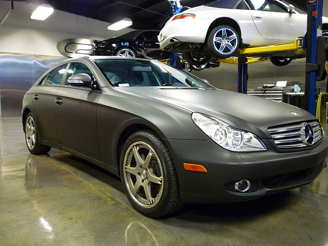 Skinzwraps Matte Black on a Mercedes in Tampa, Florida