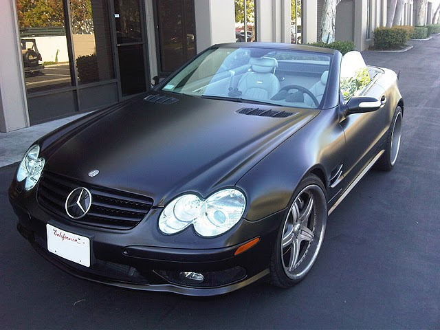 Skinzwraps Satin Black on a SL55 in Los Angeles, CA