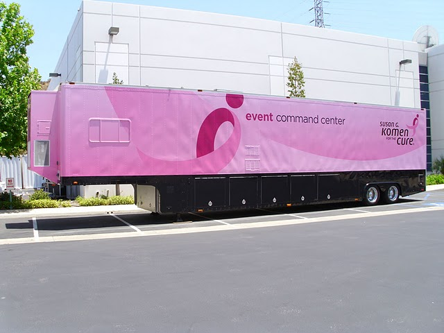 Vinyl graphics wraps on trailer for Susan G Komen in Los Angeles, CA