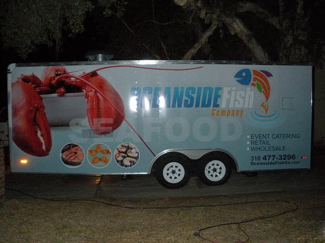 Trailer wraps installed on a Food service trailer for Oceanside Fish Co