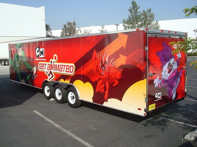 Trailer wrap installed on a touring trailer for Cartoon Network