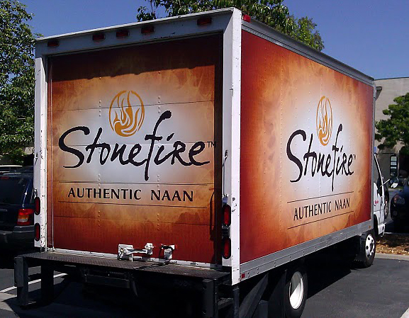 Vinyl graphics wrap installed on truck for Stonefire in Los Angeles, CA