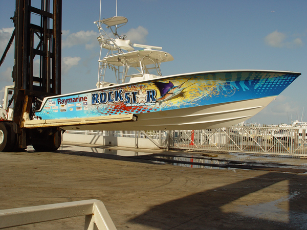 Vinyl boat wraps on Rockstar in Miami FL