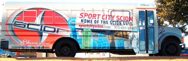 Bus wraps for Sport City Scion in Dallas TX