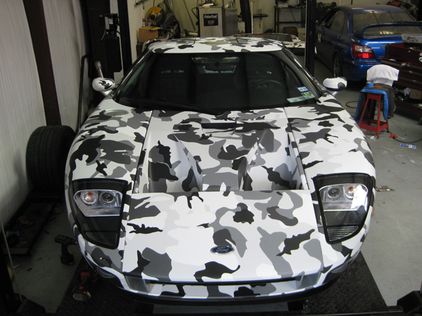 Custom Snow Camo pattern wrap with a matte laminate on a Ford GT in Austin