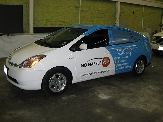 Partial car wraps on Prius in Dallas TX