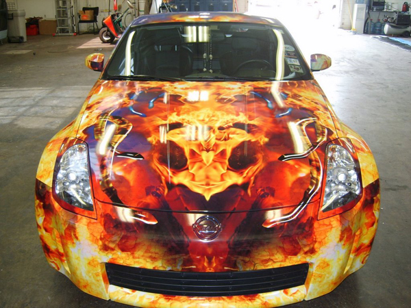 Custom vinyl flame wraps on 350z in Dallas
