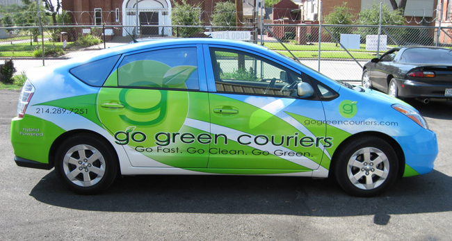 Car wraps on Prius for go green in Dallas