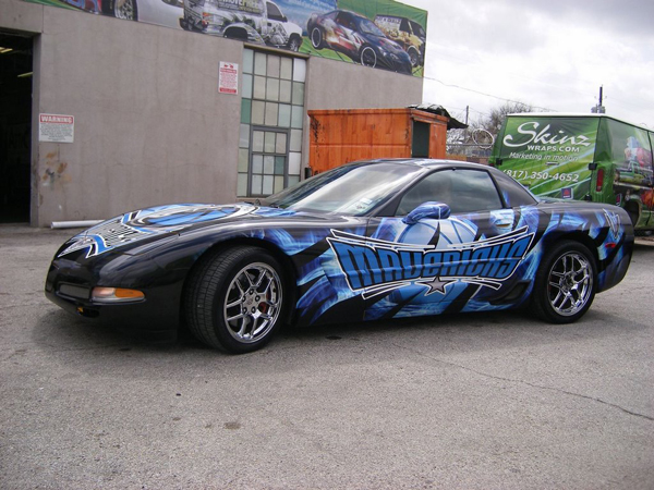 Custom vinyl graphics car wraps for Dallas Mavericks