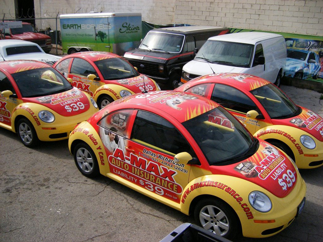 Fleet car wraps for Amax insurance in Dallas