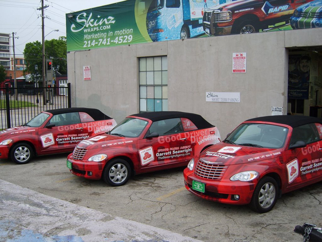 Custom vinyl graphics car wraps for State Farm car fleet in Dallas