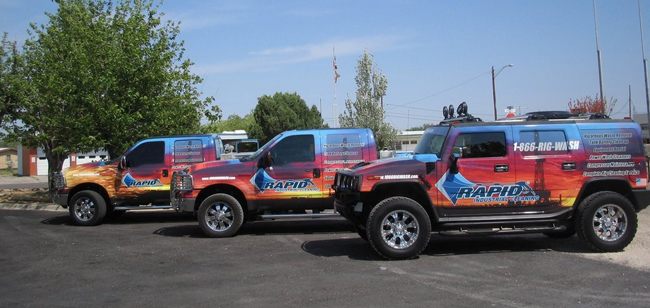 Truck graphics wraps for rapid Industrial Cleaning fleet in Dallas