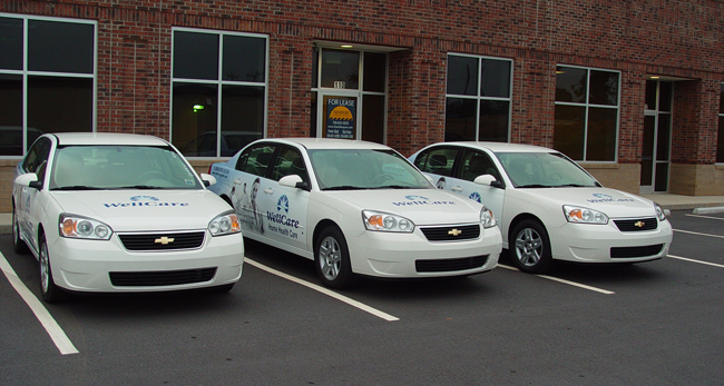 Fleet vehicle wraps for Wellcare in North Carolina