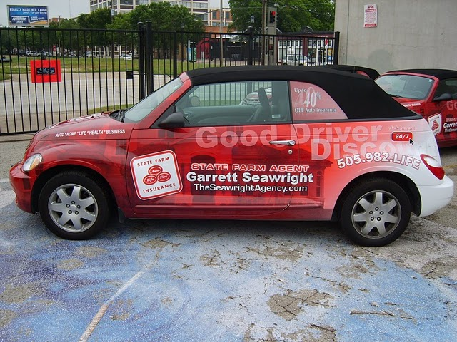 Car wraps installed on a fleet of PT Cruiser Convertibles for State Farm Agent Garrett Seawright