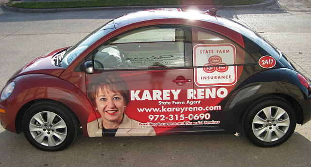 Car wraps installed on VW Beetle for State Farm agent Karey Reno in Dallas