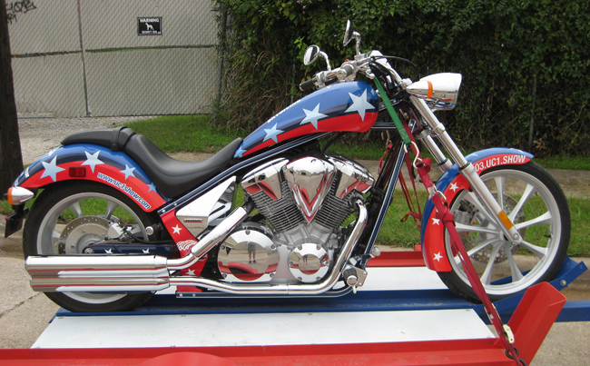 Custom Motorcycle vinyl wraps on a Honda Fury Chopper for Mark Schlatter Skydiving
