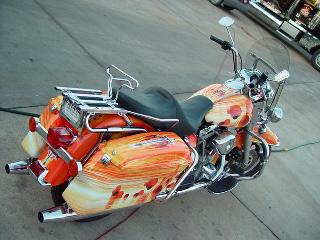 Vinyl graphics Motorcycle wraps installed on a Custom Bagger
