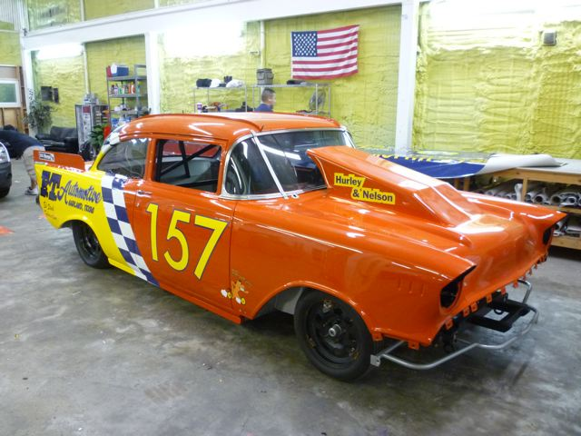 Custom vinyl graphics wraps on a 57 Chevy race car for E.T. Automotive done in Dallas, TX