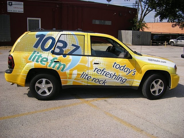 Car wraps installed on a Chevy Trailblazer for CBS Radio station 103.7 lite fm