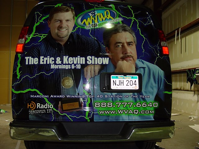 Custom vinyl graphics vehicle wraps for WVAQ 102 in West Virginia