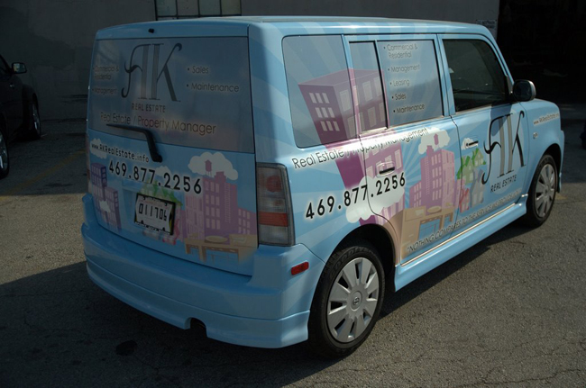 vinyl car wraps on a Scion XB for AK Realty