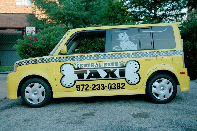 Custom car wraps on a Scion XB for Central Bark Taxi