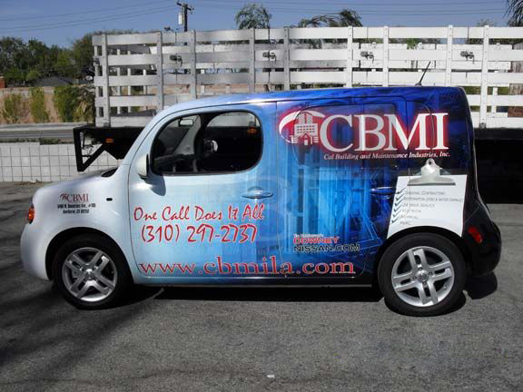 Vinyl graphics Scion wraps for CBMI in Los Angeles