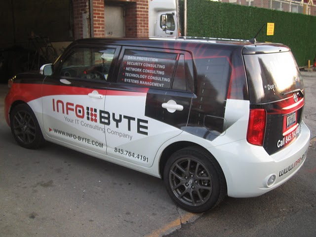 Vinyl wraps on a Scion Xb for Info-byte in New York
