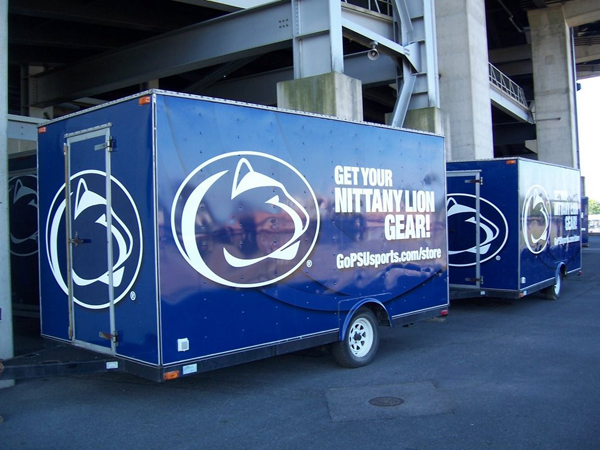 Trailer wraps installed on a fleet of Trailers for Barnes and Noble Booksellers at Penn State University